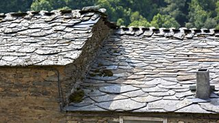 Slate on the roof of a house