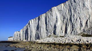 White limestone chalk cliffs at Beachy Head on the Sussex Coast