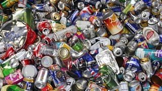 Metal drinks cans ready to be recycled