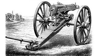 An illustration of a Gatling gun