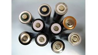A group of AA batteries