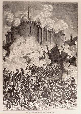 Painting of French troops storming the Bastille