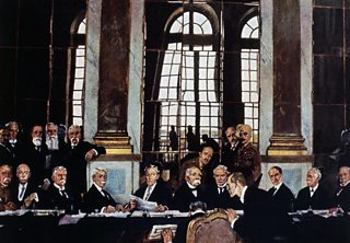 A painting of the signing of the Treaty of Versailles showing all three leaders