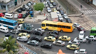 Ariel view of gridlocked traffic in Rio