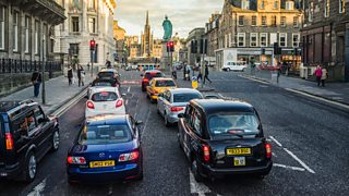 Traffic queued at traffic lights in Edinburgh