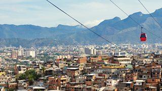 Cable car over the Complexo do Alemao favela in Riolum housing on a hillside in the Rocinha favela in Rio