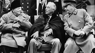 Churchill, Franklin D Roosevelt and Stalin sit talking together