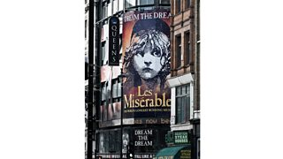 A banner of Les Miserables at the Queens Theatre, London