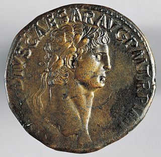 Ancient coin bearing the image of Claudius.