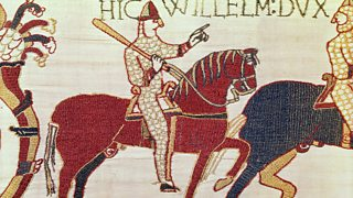 William prepares his troops for battle, as depicted on the Bayeux Tapestry.