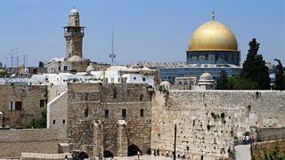 Western Wall and the Dome of the Rock in the Old City of Jerusalem.