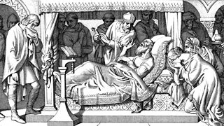 A dying Edward the Confessor, surrounded by grieving people.