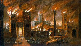 A painting of the Great Fire of London 1666.