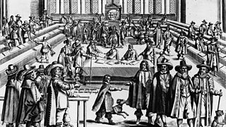 Cromwell dismisses his Parliament in 1653.