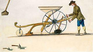 Illustration of inventor Jethro Tull's seed drill.