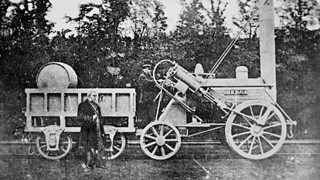 Faked photograph, purporting to be of George Stephenson and the Rocket steam locomotive.