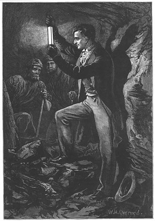 Artist's impression showing Humphrey Davy testing his miner's safety lamp in an mine.