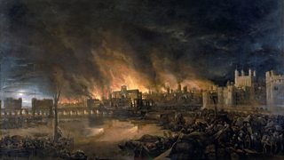 Painting depicting the Great Fire of London from a boat in the vicinity of Tower Wharf. In the centre St Paul's Cathedral is engulfed in flames.