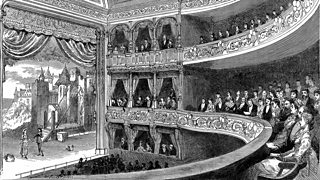Depiction of the interior of the Savoy Theatre, London in 1881. The theatre was the home of the Gilbert and Sullivan operettas.