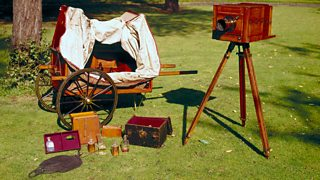 Collodion wet-plate equipment which would have been used by photographers in 1853.