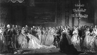 A debutante is presented to Queen Victoria in a drawing room in 1861.