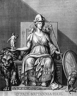 Britannia was depicted with a lion, a trident, an owl, a shield and helmet
