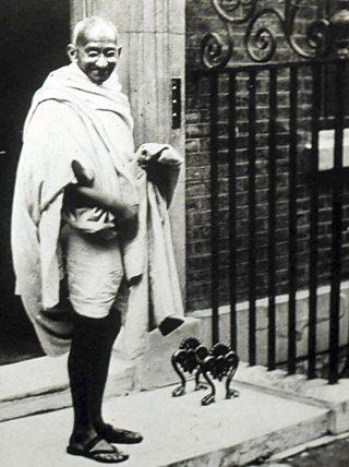 Mohandas Gandhi, outside Downing Street in 1931
