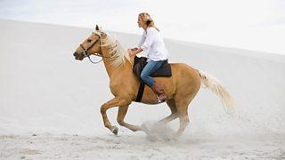 A young woman rides a horse along a beach