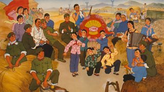 Poster of civilians and People's Army members celebrating a large grain harvest