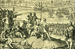 An engraving showing British colonists persuading a tribe of native Americans, the Chickahominies, to join them.