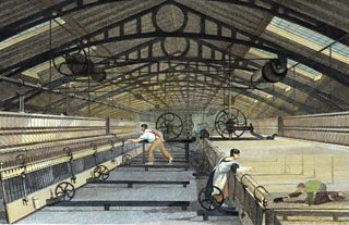 An engraving showing cotton being spun in a factory