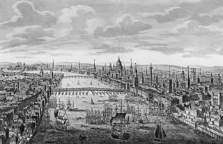 An engraving of eighteenth century London over the River Thames