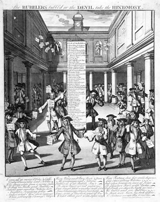 An engraving satirising the inside of the British stock exchange, showing rich upper class men dancing