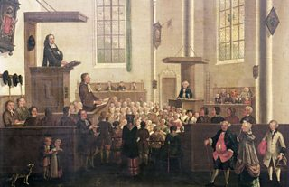 An oil painting depicting a Christian service at Old Cripplegate Church on the abolition