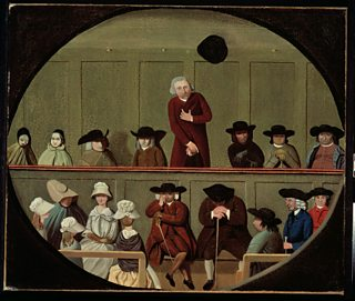 "Painting titled ""Quaker Meeting"", 18th or 19th century"