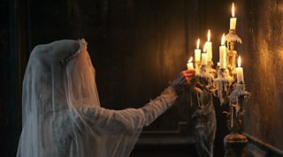 Miss Havisham, shortly before the fire that brings about her tragic demise