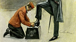 A bootblack shining another man's shoes. As a young boy, Dickens worked in a boot-blacking factory, pasting labels onto pots of blacking.