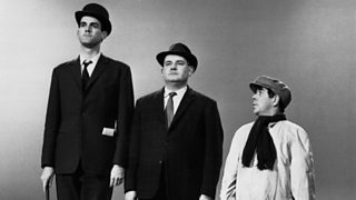 John Cleese, Ronnie Barker and Ronnie Corbett in the famous Class Sketch, depicting the upper, middle and working class
