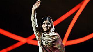Malala Yousafzai greets the audience at the Norway Nobel Peace Concert (2014)