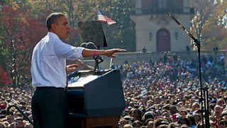 President Obama opening a campaign rally addressing a large crowd