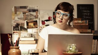 Female blogger working from home office