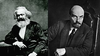 Two portrait photos, one of Karl Marx and the other Vladimir Lenin