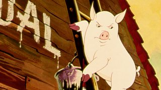 Snowball, painting the commandments on the barn, a scene from the 1954 film of Animal Farm.