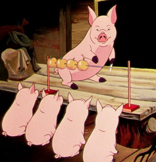 A pig teaching piglets to count with an abacus,  a scene from the 1954 film of Animal Farm.