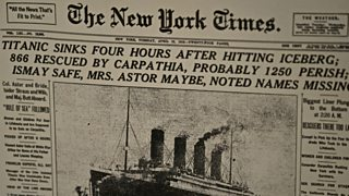 The front page of the New York Times announcing the sinking of the Titanic.
