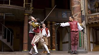 Tybalt kills Mercutio under Romeo's arm