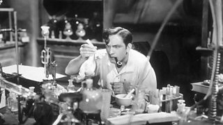 Dr Jekyll mixes chemicals to make a potion.
