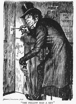 A drawing of Mr Hyde opening the door to his home