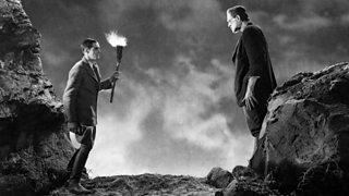 Victor Frankenstein meets the Monster again, in a scene from the 1931 film 'Frankenstein'