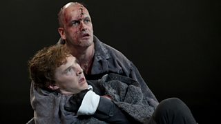 Benedict Cumberbatch as Victor Frankenstein and Jonny Lee Miller as the Monster on stage